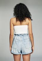 Cotton On - Denim paperbag short - brooklyn blue