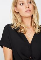 Cotton On - Tilly tie front cropped shirt - black