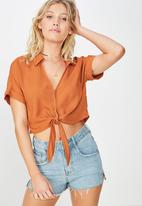Cotton On - Tilly tie front cropped shirt - orange