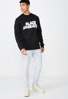 Cotton On - Sabbath logo crew fleece - black