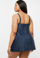 Quayside - Tie front skirt dress suit - navy
