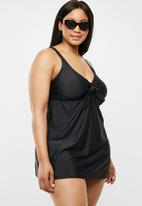 Quayside - Tie front skirt dress suit - black