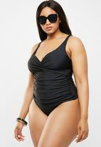 Quayside - Cross front tankini - black