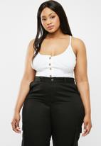 Missguided - Curve button detail strappy bodysuit - white