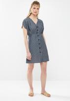 c(inch) - Front button mini dress stripe - navy & white