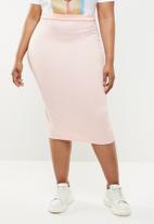 Missguided - Scuba midi skirt - pink