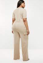 Missguided - Curve utility rib wide leg jumpsuit - neutral