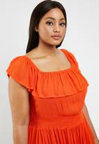 Brave Soul - Curve off the shoulder dress - orange