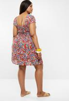 Brave Soul - Curve all over printed smock dress - multi