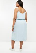 Brave Soul - Curve button through dress - blue