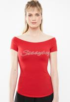Sissy Boy - Bordot off-the-shoulder tee - red