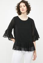 Vero Moda - Malva minni peplum top - black