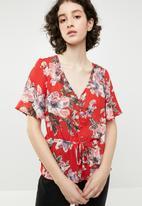 Brave Soul - V-neck frill blouse - multi