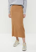 Brave Soul - Ribbed maxi skirt - brown