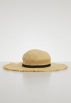 Superbalist - Frayed trim straw hat - neutral