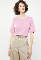 Brave Soul - Short sleeve knitted top - pink