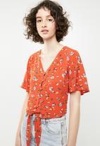 Brave Soul - Crop blouse with tie detail - orange
