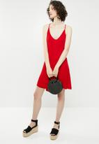 Brave Soul - Strappy woven button through dress - red
