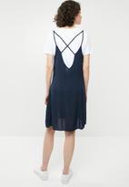Brave Soul - Strappy woven button through dress - navy