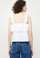 Forever21 - Broderie detail overlay crop top - white