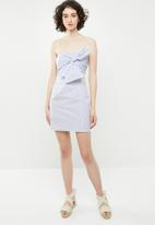 Forever21 - Bandeau bow bodycon dress - blue & white