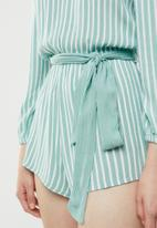 Forever21 - Off shoulder long sleeve playsuit - green & white