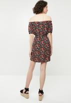 Forever21 - Off shoulder floral dress with tie - multi