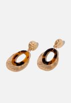 Cotton On - Sara classic earring - brown & gold