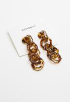 Superbalist - Hexagon animal print earrings - brown & black