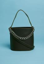 Superbalist - Drawstring chain detail bucket bag - green