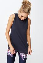 Cotton On - Active curve hem tank  - navy