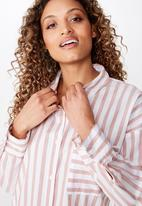 Cotton On - Pippa oversized shirt katie stripe - dusty pink & white