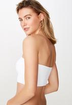 Cotton On - Longline bandeau bikini top  - white