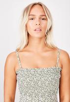 Cotton On - Shirred strapless one piece - green & white