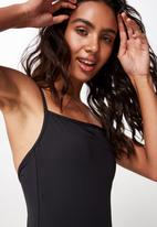 Cotton On - Straight neck cheeky one piece - black