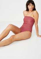 Cotton On - Strapless cheeky one piece - pink