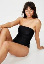 Cotton On - Strapless cheeky one piece  - black