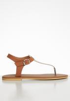 Superbalist - Zizi leather T-bar sandal - gold & tan