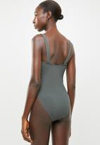 Missguided - Rib square neck swimsuit - grey