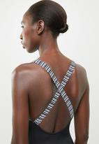 Jacqueline - Halter crossover one piece - black & white