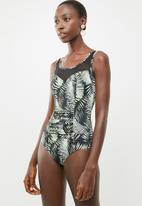 Jacqueline - Mesh palm print one piece - green & black