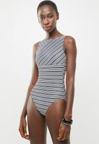 Jacqueline - Panelled one piece - black & white