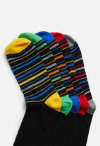 Brave Soul - Fred striped socks 5pk- black multi