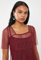 AMANDA LAIRD CHERRY - Clara mesh dress - burgundy