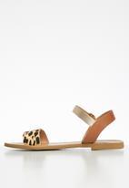 Steve Madden - Donddi suede/leather leopard print sandal - brown & beige