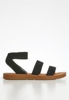 Madison® - Elastic ankle strap sandal - black
