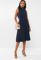 POLO - Dawson anglaise sleeveless dress - navy