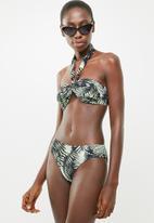 Jacqueline - Palm print bandeau bikini top - green & black