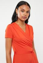 edit - Wrap over fit and flare dress - orange