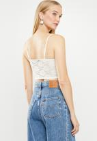 New Look - Lace button detail bralet - cream